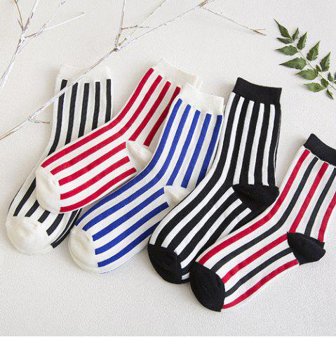 Shops One Set Vertical Stripes Socks - COLORMIX  Mobile