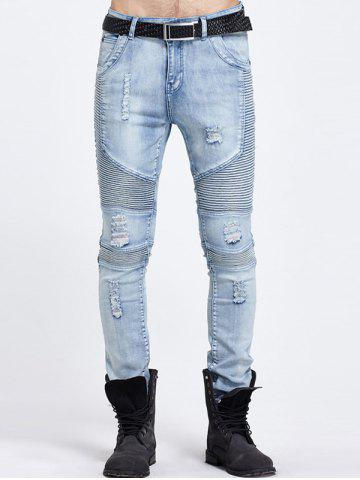 Trendy Zip Fly Ripped Skinny Biker Jeans