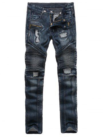 Ribbed Insert Straight Leg Zippered Ripped Jeans - Deep Blue - 30