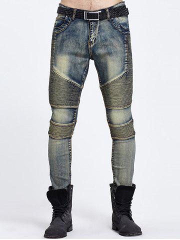 Ribbed Panel Ripped Jeans