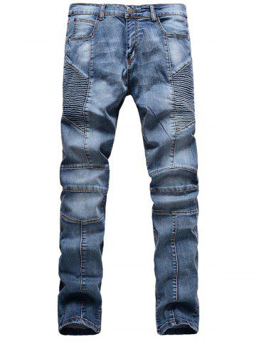 Ribbed Panel Scratched Zipper Fly Five-Pocket Jeans - Blue - 34
