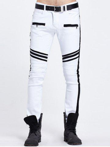 Zippered Pocket Contrast Panel Skinny Jeans - White - 28