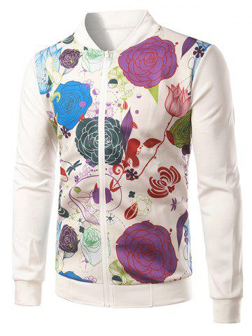 Outfit Rib Insert Floral Printed Zip Up Jacket
