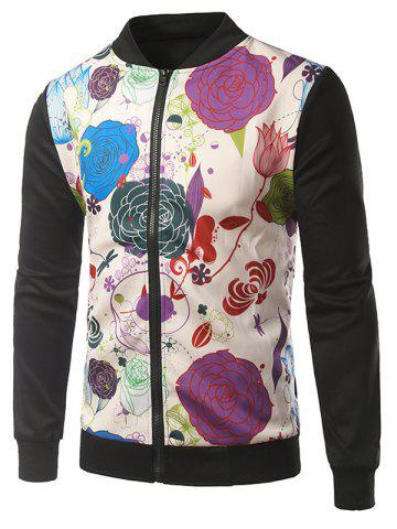 Sale Rib Insert Floral Printed Zip Up Jacket