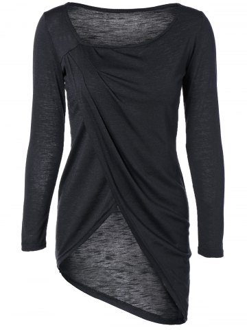 Hot Scoop Neck Asymmetric Wrap T-Shirt BLACK XL