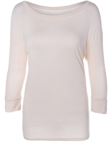 Shop Scoop Neck Batwing Sleeve Solid Color T-Shirt