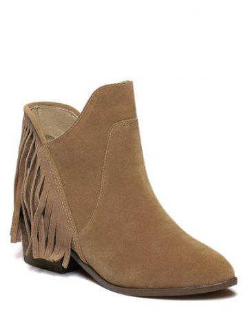 Discount Suede Chunky Heel Fringe Ankle Boots