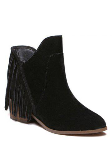 Outfit Suede Chunky Heel Fringe Ankle Boots BLACK 38