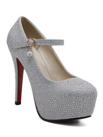 Online Sequined Rhinestone Stiletto Heel Pumps SILVER 39