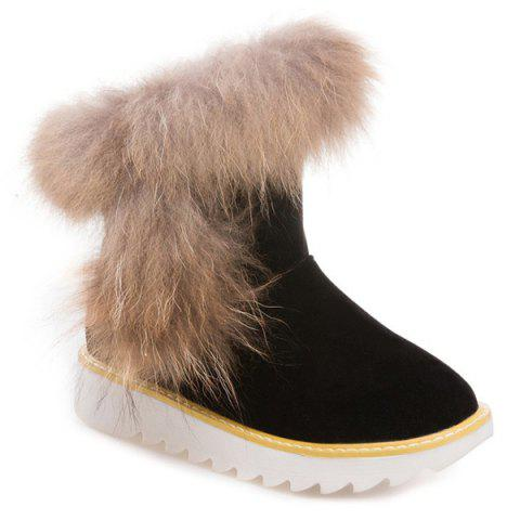 New Platform Suede Furry Snow Boots BLACK 39