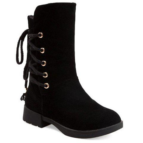 Cheap Back Lace-Up Low Heel Suede Mid-Calf Boots BLACK 39