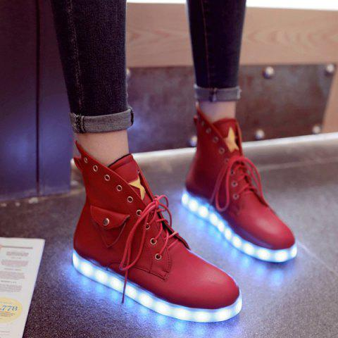 Unique Eyelet Star Led High Top Led Luminous Shoes RED 39