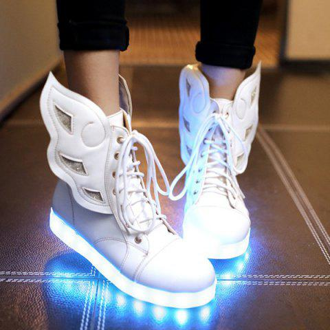 Lace-Up Winged High Top Led Luminous Shoes - White - 38