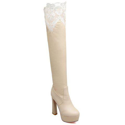 Outfits Chunky Heel Lace Spliced Thigh High Boots LIGHT APRICOT 39
