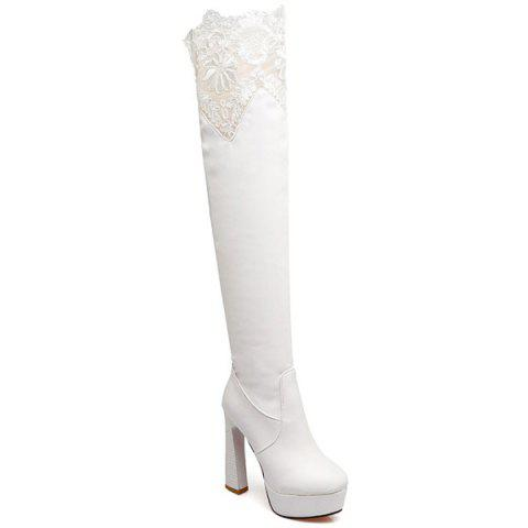 Chunky Heel Lace Spliced Thigh High Boots - White - 38