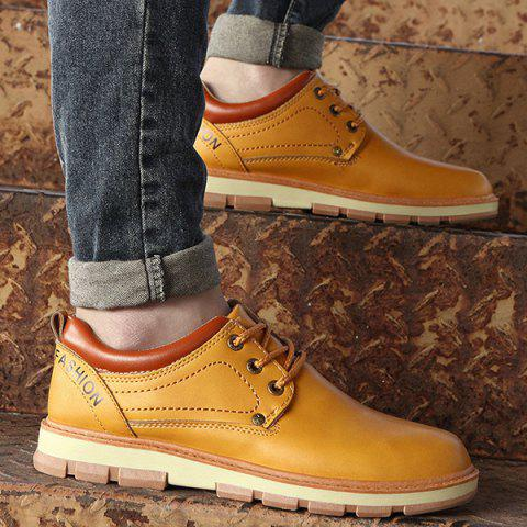 Buy PU Leather Stitching Color Splice Casual Shoes - 44 EARTHY Mobile