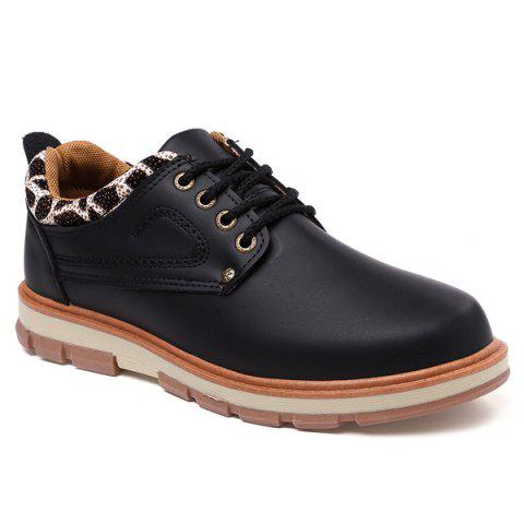 Store PU Leather Stitching Leopard Splice Casual Shoes