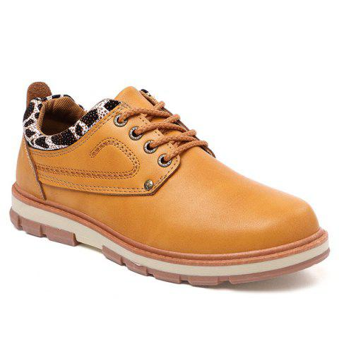 PU Leather Stitching Leopard Splice Casual Shoes - Earthy - 42