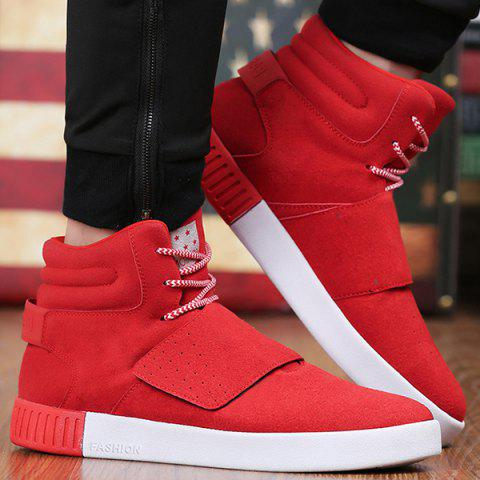 Outfits Casual Suede Lace-Up Boots RED 40