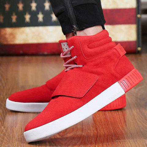 Hot Casual Suede Lace-Up Boots - 40 RED Mobile