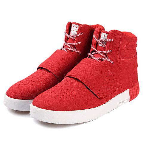 Best Casual Suede Lace-Up Boots - 40 RED Mobile