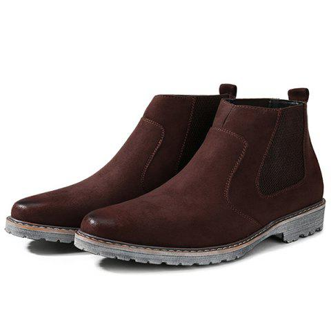 New Vintage Slip-On Suede Ankle Boots - 43 BROWN Mobile