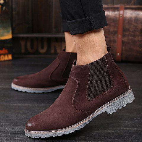 Store Vintage Slip-On Suede Ankle Boots - 41 BROWN Mobile