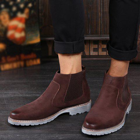 New Vintage Slip-On Suede Ankle Boots - 41 BROWN Mobile