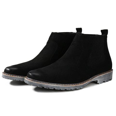 Store Vintage Slip-On Suede Ankle Boots - 42 BLACK Mobile