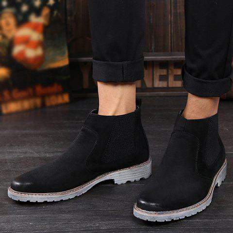 Sale Vintage Slip-On Suede Ankle Boots - 42 BLACK Mobile