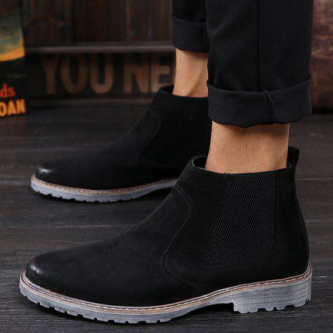 New Vintage Slip-On Suede Ankle Boots - 42 BLACK Mobile