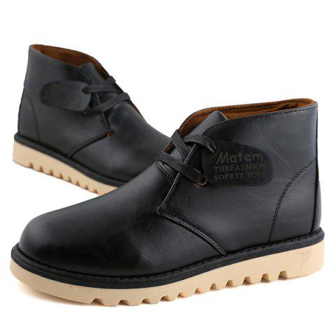 Shop Preppy Stitching PU Leather Short Boots - 43 BLACK Mobile