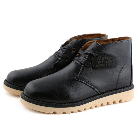 Shop Preppy Stitching PU Leather Short Boots - 44 BLACK Mobile