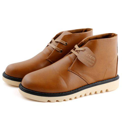 New Preppy Stitching PU Leather Short Boots LIGHT BROWN 44