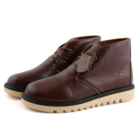 New Preppy Stitching PU Leather Short Boots - 42 BROWN Mobile