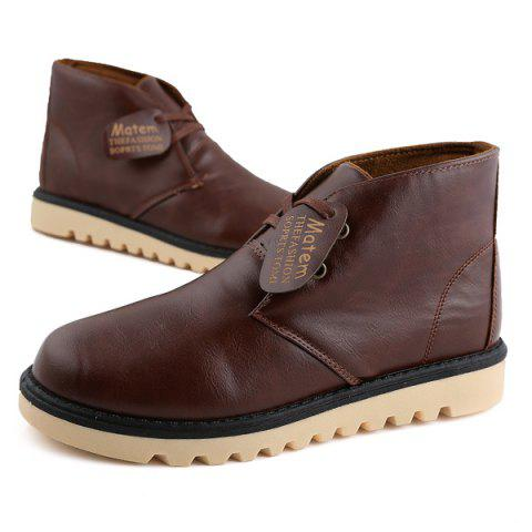 Store Preppy Stitching PU Leather Short Boots - 42 BROWN Mobile