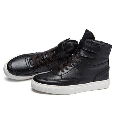 Latest Casual PU Leather Lace-Up Boots - 43 BLACK Mobile