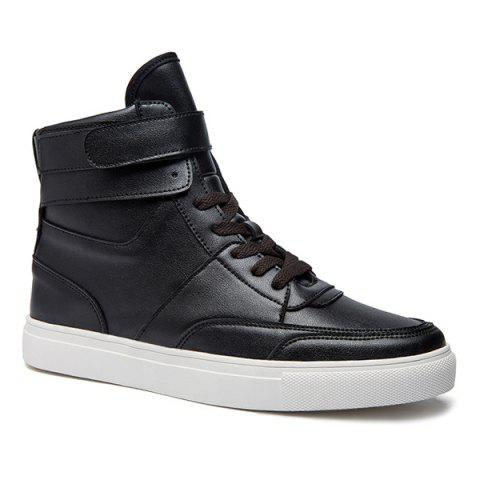 Sale Casual PU Leather Lace-Up Boots - 44 BLACK Mobile
