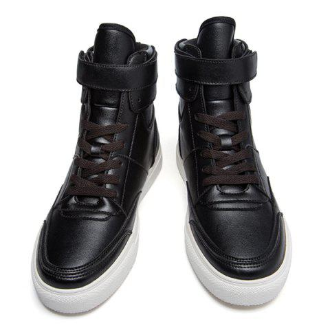 Latest Casual PU Leather Lace-Up Boots - 44 BLACK Mobile