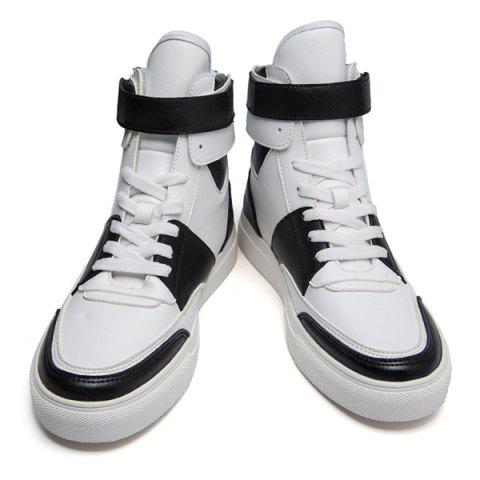 Sale Casual PU Leather Lace-Up Boots - 43 WHITE Mobile