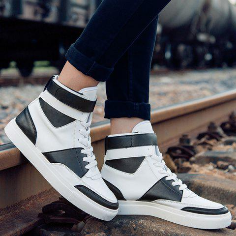 Cheap Casual PU Leather Lace-Up Boots - 43 WHITE Mobile