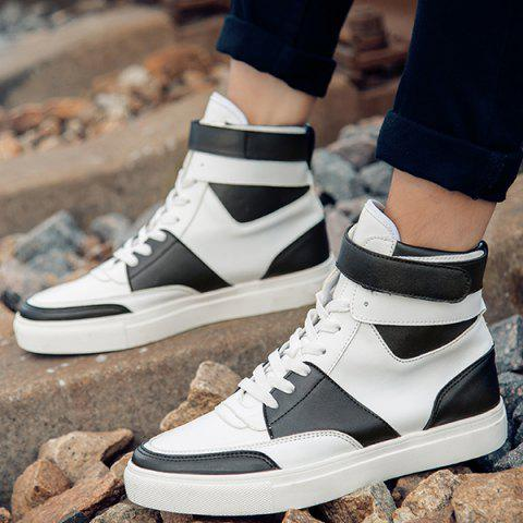 Cheap Casual PU Leather Lace-Up Boots - 44 WHITE Mobile