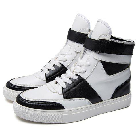 Discount Casual PU Leather Lace-Up Boots - 44 WHITE Mobile