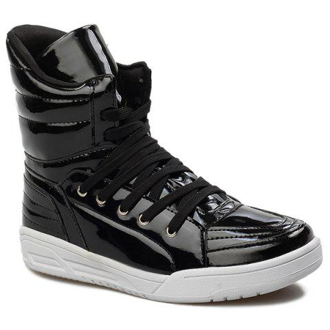 Discount Casual Lace-Up Patent Leather Boots BLACK 43