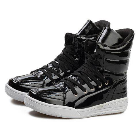 Hot Casual Lace-Up Patent Leather Boots - 44 BLACK Mobile