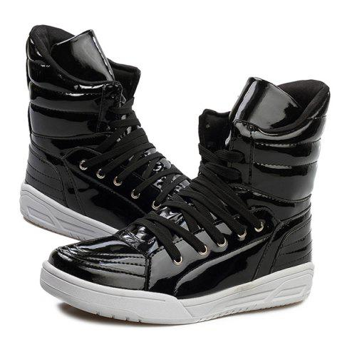 Best Casual Lace-Up Patent Leather Boots - 44 BLACK Mobile