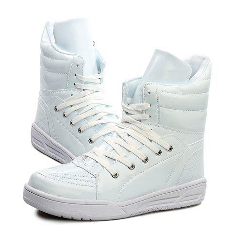 Shop Casual Lace-Up Patent Leather Boots - 44 WHITE Mobile
