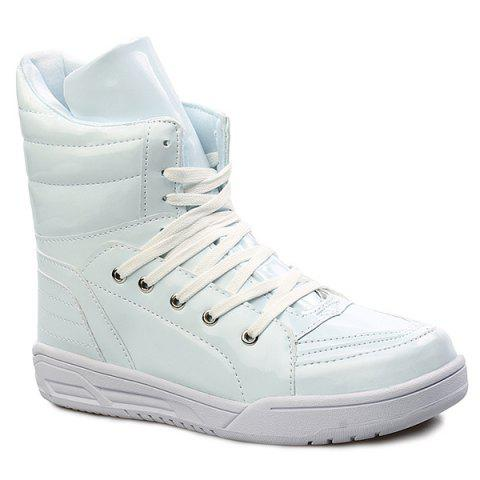 Online Casual Lace-Up Patent Leather Boots - 44 WHITE Mobile