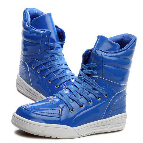 Fashion Casual Lace-Up Patent Leather Boots - 43 BLUE Mobile