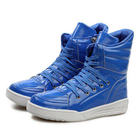 Fashion Casual Lace-Up Patent Leather Boots - 44 BLUE Mobile